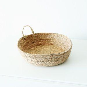Anthropologie Metallic Woven Tray Basket